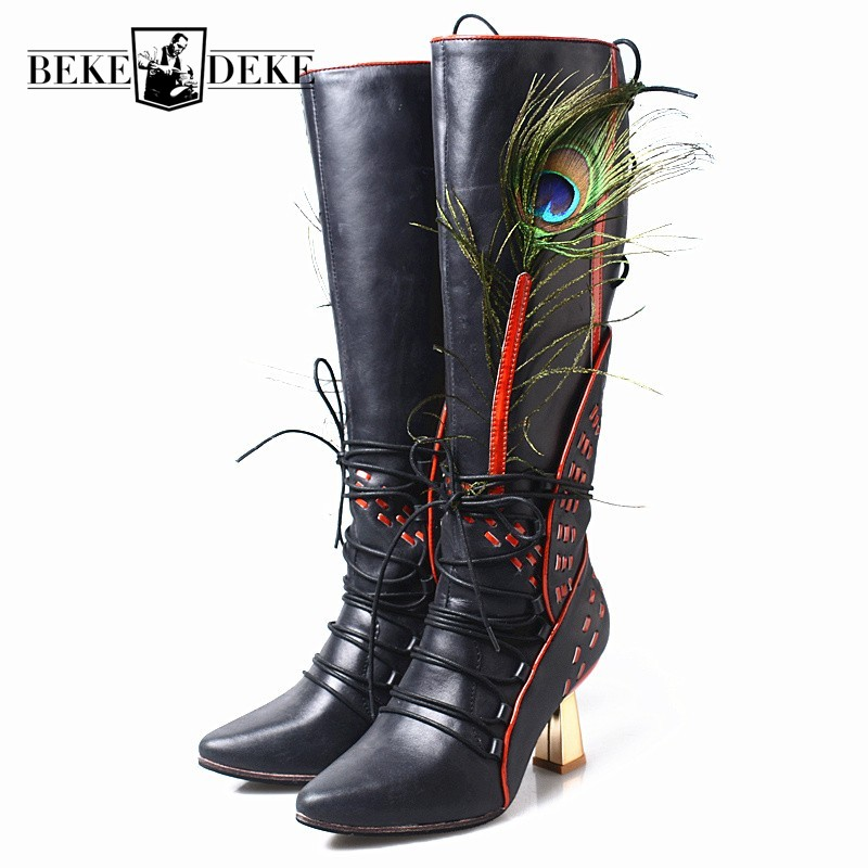 Fashion Runway Peacock Feather Genuine Leather High Boots Women 2019 New High Heel Pointed Toe Winter Lace Up Ladies Boots ShoesFashion Runway Peacock Feather Genuine Leather High Boots Women 2019 New High Heel Pointed Toe Winter Lace Up Ladies Boots Shoes