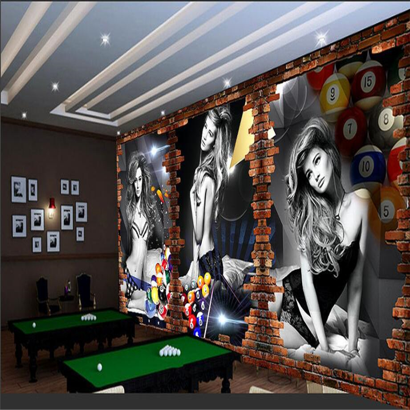 3d Wallpaper Interior Design Beibehang Custom 3d Wallpaper Billiard Image Wall Billiard