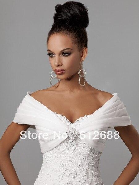 2016 blanc organza pliss chle de lpaule fronc nuptiale de mariage bolero veste de - Bolero Mariage Blanc