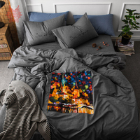 Painting applique embroidery 100% cotton bedding set comforter cover set fitted sheet type Queen King jogo de cama SP4195