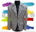 2016(jacket+pant)male costume Black and white plaid suit nightclub bar costume suit male cortex for singer dancer star nightclub