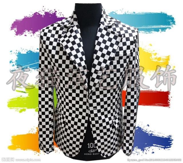 2016 (jaqueta + calça) traje masculino terno xadrez Preto e branco bar boate terno traje masculino córtex para cantor dancer boate estrela