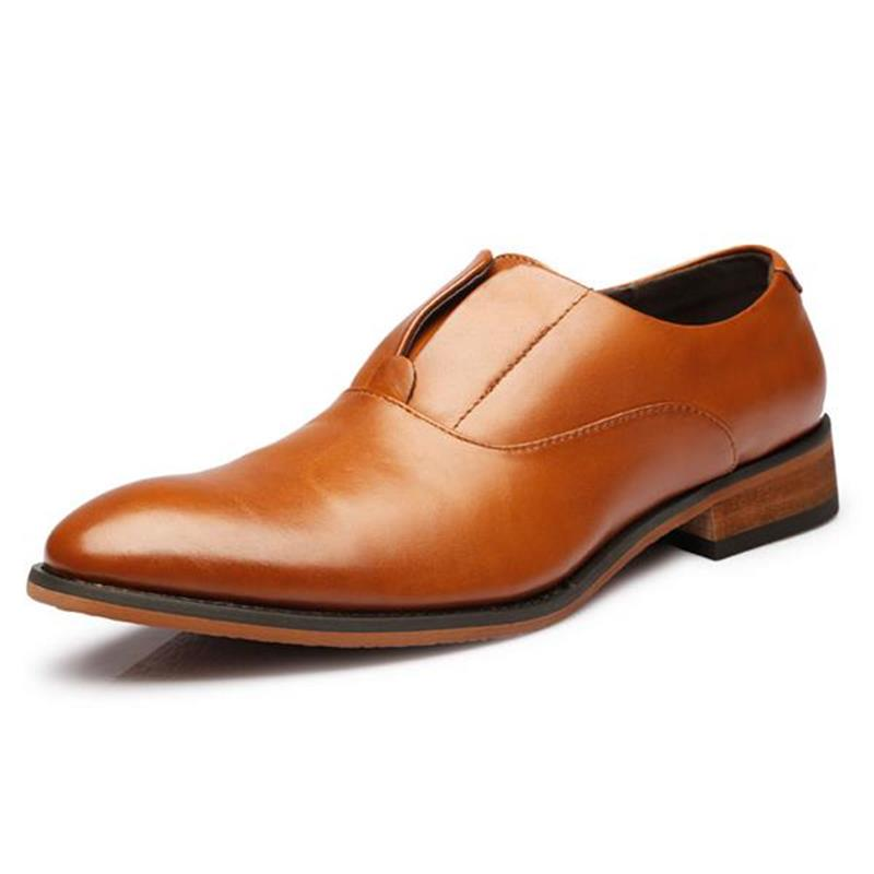 ФОТО Nice Pop Pop Fashion High Quality Genuine Leather Men Oxfords Pointed Toe Business Men Shoes Men Dress Shoes