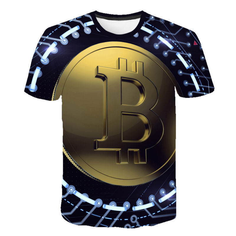 2019T Shirts Bitcoin In Cryptography We Trust Men's O Neck Moon Short Sleeve Cryptocurrency T-Shirt Men Funky 3D Tees