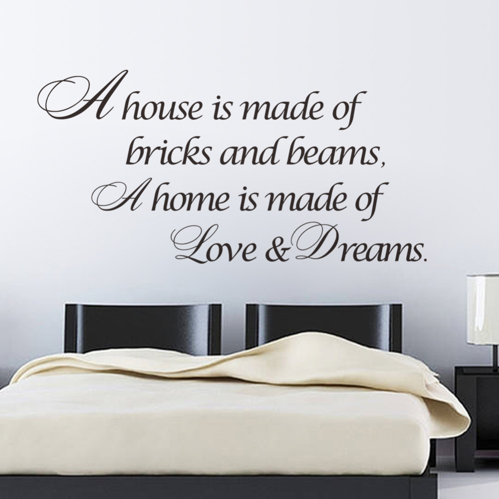 A home is made of love dreams quotes wall sticker bedroom for Room decor ideas quotes