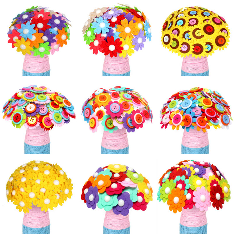 DIY Creative Button Cloth Flower Decorative Material Handmade Early Education Sewing Handcrafts Colourful Toys For Children Kids button