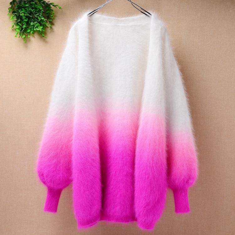 Medium Long Real Angora Rabbit Fur Loose Lantern Long-sleeves Hand Knitted Mink Cashmere Sweater Coat Cardigan For Girls Spring