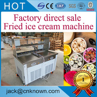 Philippines 450 mm pot R410A Refrigerant easy operate double flat pan roll fried ice cream machine|cream machine|ice cream machine|fried ice cream machine -