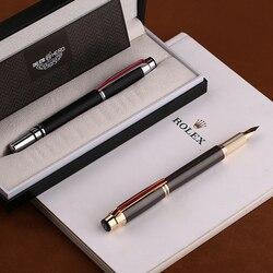 Héroe 200E 14K colección de oro pluma estilográfica mate negro/gris dorado/plata Clip fino pluma de regalo y caja para oficina de negocios