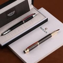 HERO 200E 14K Gold Collection Fountain ปากกาสีดำ/สีเทาสีทอง/เงินคลิป Fine Nib ปากกาและกล่องสำหรับสำนักงานธุรกิจ