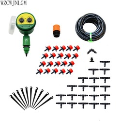 Garden Irrigation 20m DIY Mini Drip System Automatic Watering Timer Garden Hose Kit with Adjustable Dripper 1set
