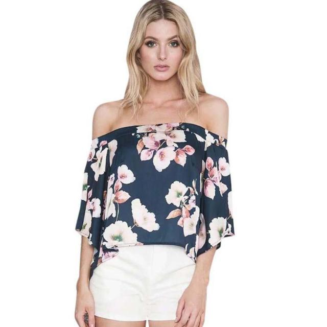 06e95f4d3f25e 2018 New Fashion Flare Sleeve Women Off Shoulder Floral Print Blouse Casual  Tops Hot Dropshipping L624 616