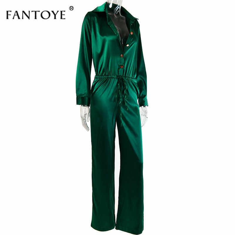Fantoye элегантный свободный атласный облегающий бандажный комбинезон женский 2019 весенний сексуальный однотонный нагрудный глубокий v-образный вырез Комбинезоны женские уличные