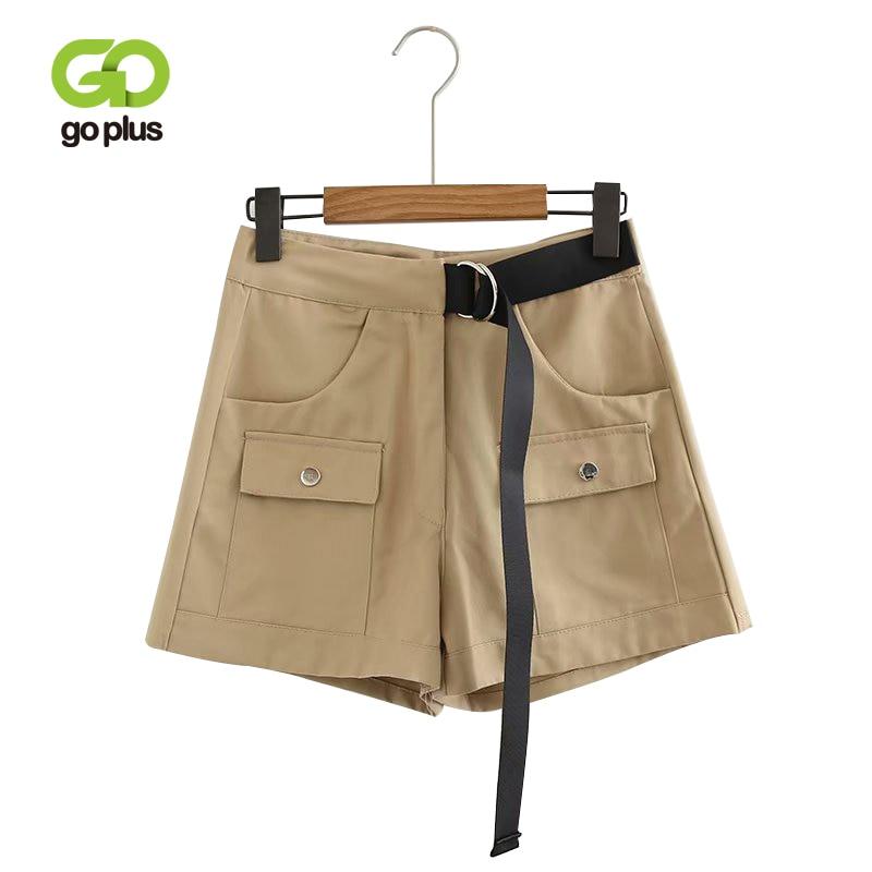GOPLUS 2019 Autumn Winter New Women Cotton A-line Wide Leg   Shorts   Belt Metal Ring   Shorts   Loose High Waist Pockets   Shorts   Women
