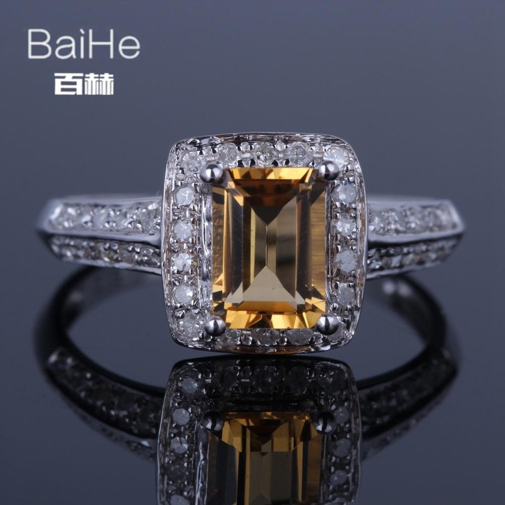 BAIHE Solid 14K White Gold(AU585) 0.97CT Certified Emerald Flawless 100% Genuine Citrine Wedding Women Trendy Fine Jewelry Ring BAIHE Solid 14K White Gold(AU585) 0.97CT Certified Emerald Flawless 100% Genuine Citrine Wedding Women Trendy Fine Jewelry Ring