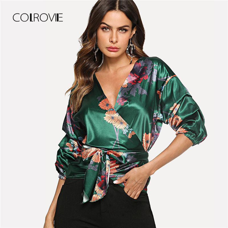 COLROVIE Green Deep V Neck Gathered Sleeve Botanical Wrap   Blouse     Shirt   2018 Summer Workwear Knot   Blouse   Elegant Women Clothing