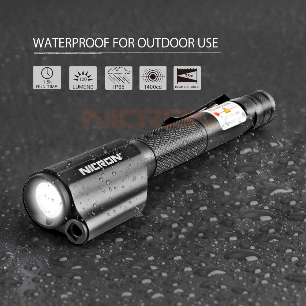 NICRON 2xAAA Red Laser Pen Flashlight Waterproof IP65 Mini Torch Lamp Lighting For Guide Outdoor 120Lumens 75M Beam Distance B24