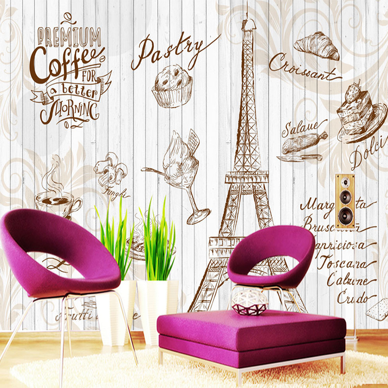 custom wall mural 3d retro letters wallpaper coffee cafe cake shop restaurant art tooling. Black Bedroom Furniture Sets. Home Design Ideas