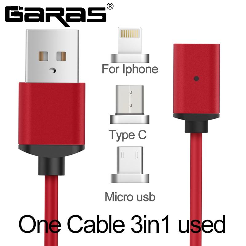 GARAS USB Tipo C/IOS/Micro Cavo USB 3IN1 Magnetico Tipo-C USB-C Veloce Adattatore del Caricatore Magnete Cavi cavo Per IPhone Del Telefono Mobile