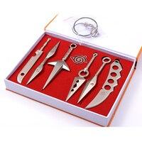 7 sztuk/zestaw Naruto Kunai Broń Cosplay Rekwizyty Miecze Nóż Naszyjnik Wisiorek Brelok Z Pudełko Kolekcja Toy # E