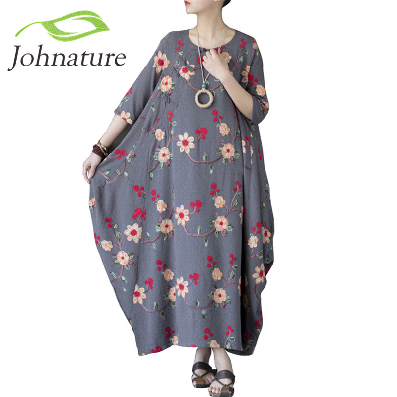 Johnature женское платье с цветочной вышивкой в китайском стиле 2018 осень Новое Женское винтажное свободное хлопковое длинное платье