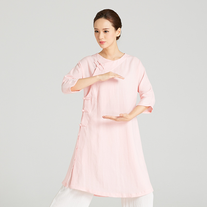 High-Quality Linen Wudang Female Gong Fu Robe 1