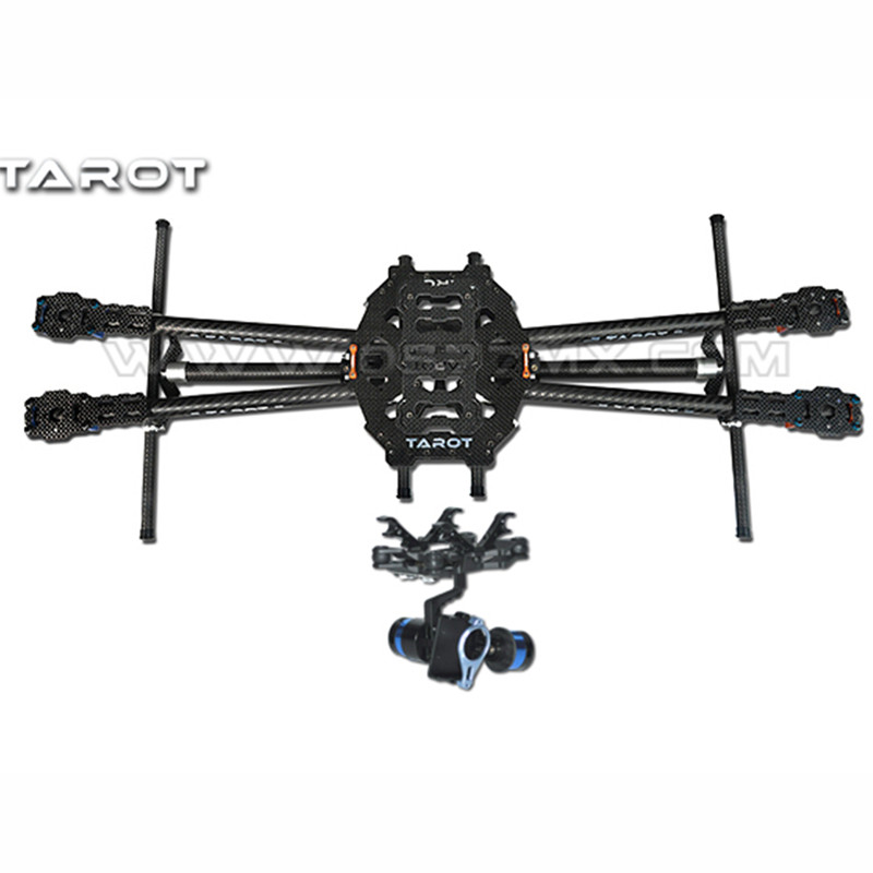 Tarot-rc FY650 3K Pure Carbon Fiber Folding 650mm FPV Quadcopter Frame TL65B01 with 2 Axis BGC TL68A00 Brushless Gimbal T-2D 3k carbon fiber brushless gimbal with controller motors full plug