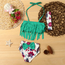 Bikini 2017 3Pcs Toddler Kid Baby swimsuit swimwear summer Girls bathing suit swimwear maillot de bain biquini Beach suit Mar20Y