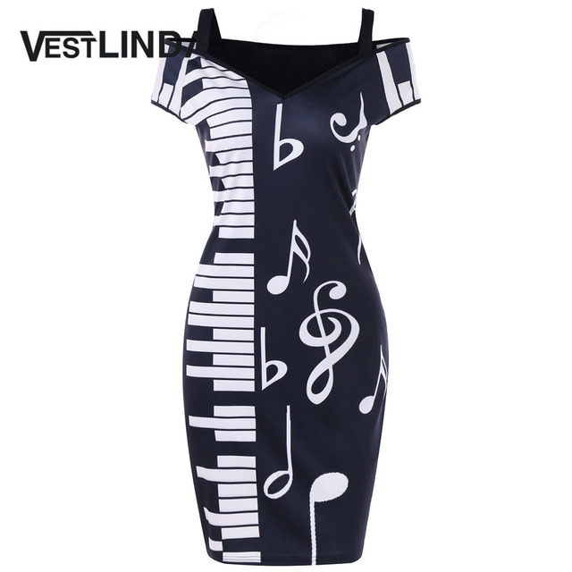 740bbf940d VESTLINDA Cold Shoulder Piano Notes Print Mini Dress Women Sweetheart Neck  Short Sleeves Dress Robe Female 2018 Bodycon Dresses