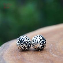 10mm 2pcs 925 Sterling Silver Beads Carved Flower Dot Mala Bead Japa Beads Bracelet Earrings Jewelry Findings DIY Accessories