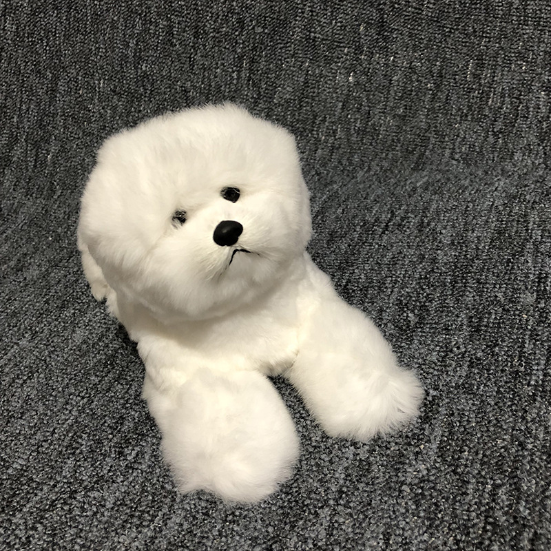 plastic&fur prone Bichon Frise dog hard model large 30x15cm white dog prop craft home decoration toy gift w0304 high quality resin bichon frise dog figure car styling home room decoration love poodle decorative article christmas gift toy