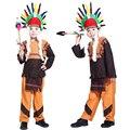 O envio gratuito de Halloween para crianças meninos de roupas roupas roupas Indianas Indian chief na Selva traje nacional