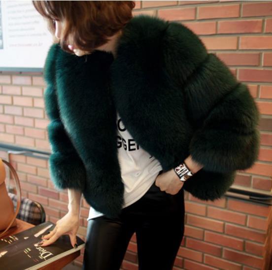 D'hiver Hiver Z177 Femmes Fourrure Fausse Femme De Manteau 2018 Taille Furry Fluffy Outwear Vert Veste Faux Plus AFRHq5