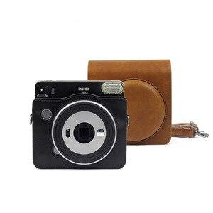 Image 4 - FUJIFILM Instax כיכר SQ6 מצלמה תיק 4 צבעים Vintage עור מפוצל מקרה כתף רצועת פאוץ לשאת כיסוי הגנה