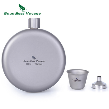Boundless Voyage Titanium Round Hip Flask with Funnel Camping Sports Bottle Wine Whiskey Water Drinking