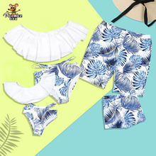 Family Matching Swimwear Mother Daughter Swimsuit Mommy And Me Bikini Clothes Family Look Father Mom Daughter Son Bathing Suit family swimsuits mommy and me clothes mother daughter swimwear floral bathing suits mom girls matching outfits bikini dress look