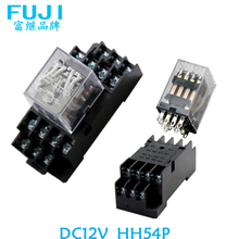 Free shipping The relay switch DC12V 4 loads HH54P Relay switch The general power relay with base socket Linkage switch 10 sets free shipping ly4nj hh64p dc24v 14pin 10a power relay coil 4pdt with ptf14a socket base