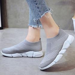 Women Shoes Plus Size Flyknit Sneakers Women Soft Light Gym Shoes Slip On Women Vulcanize Shoes Casual Sock Shoes White Sneakers