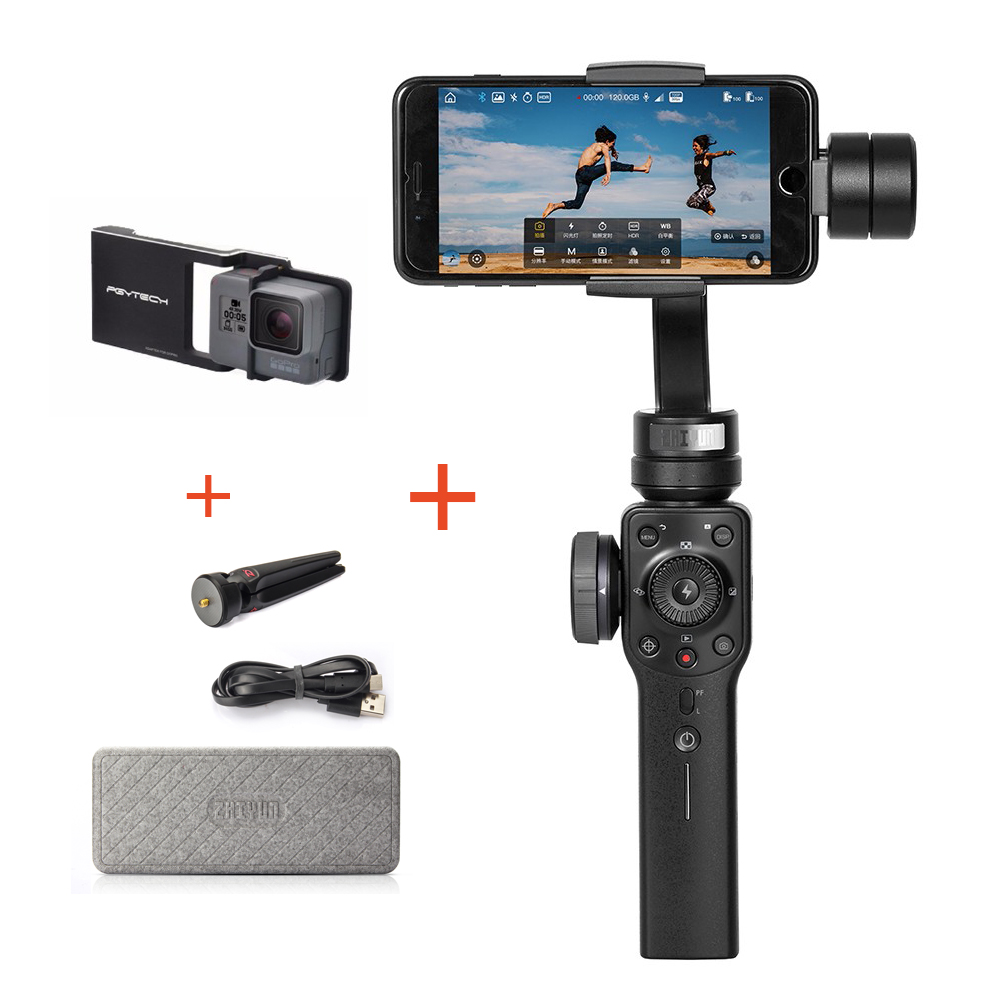 Zhiyun Smooth 4 3-Axis Handheld Gimbal Stabilizer for iPhone X 8 7 Plus Samsung S8+ S8 S6 + Plate for Gopro Hero 5/4/3/3+ Camera zhiyun smooth4 smooth 4 3 axis handheld gimbal stabilizer for smartphone action camera iphone x 8 gopro hero 5 sjcam yi mic kit