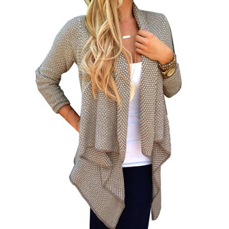 Women Long Sleeve Knitted Sweater Cardigan Open Front Coat Top ...