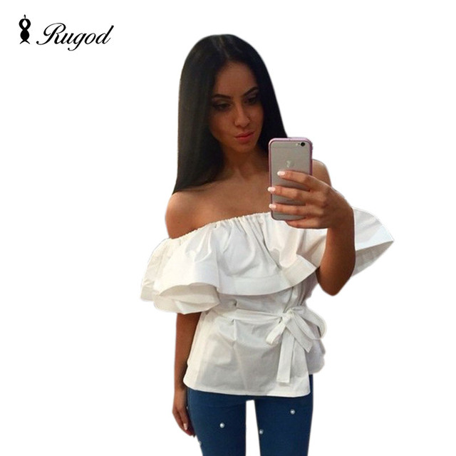 New Summer style 2017 Hot Slash Neck Tube Women Shirt with Ruffles Sexy  Blusas Off shoulder beach tops party top with belt