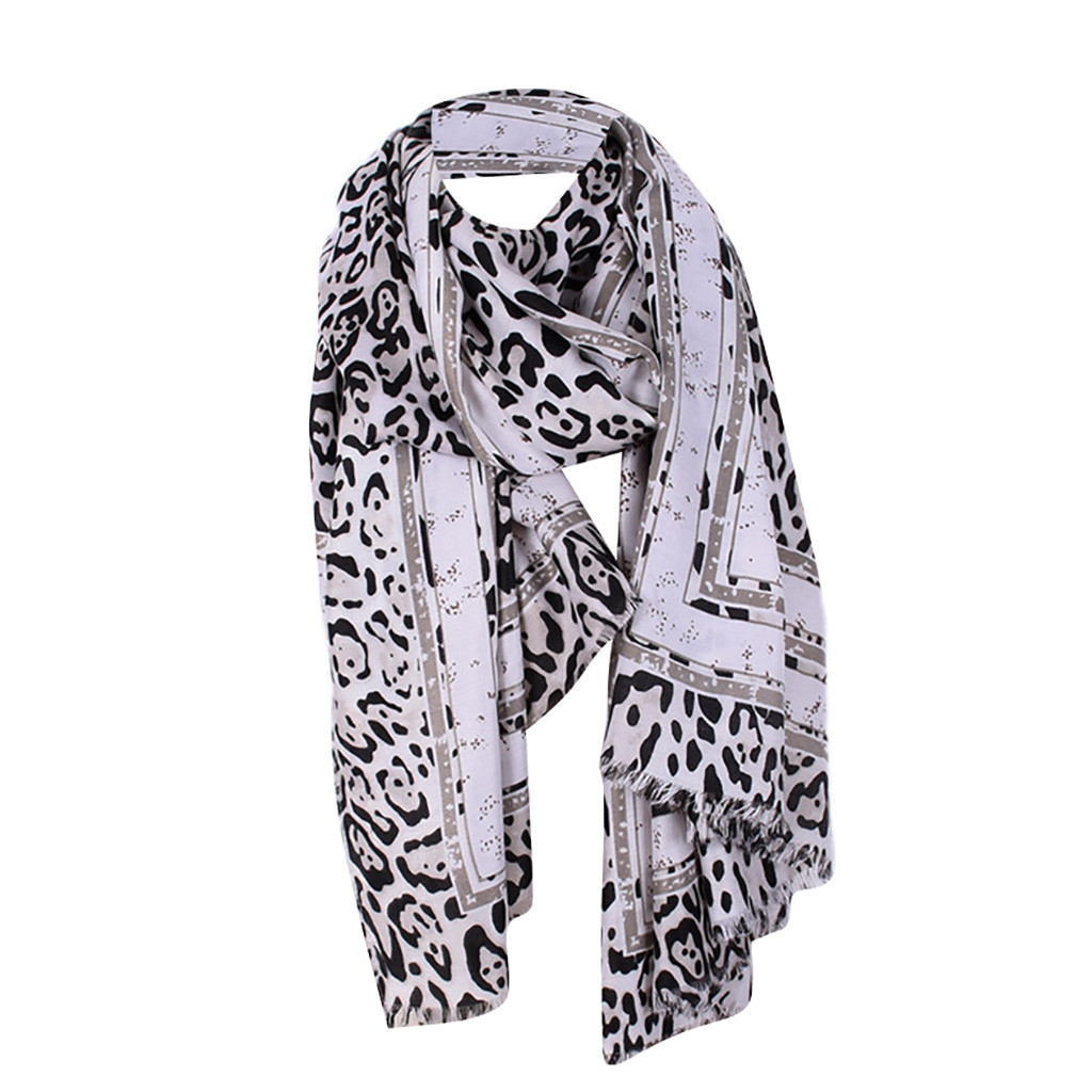 Ladies Animal Leopard Print Lightweight Airy Soft-touch Rectangle Everyday Scarf