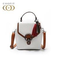 coofit Preppy Stylish Crossbody Bag For Women Casual PU Leather Multi Purpose Tassel Pendant Shoulder Bag For Ladies Circle Hasp