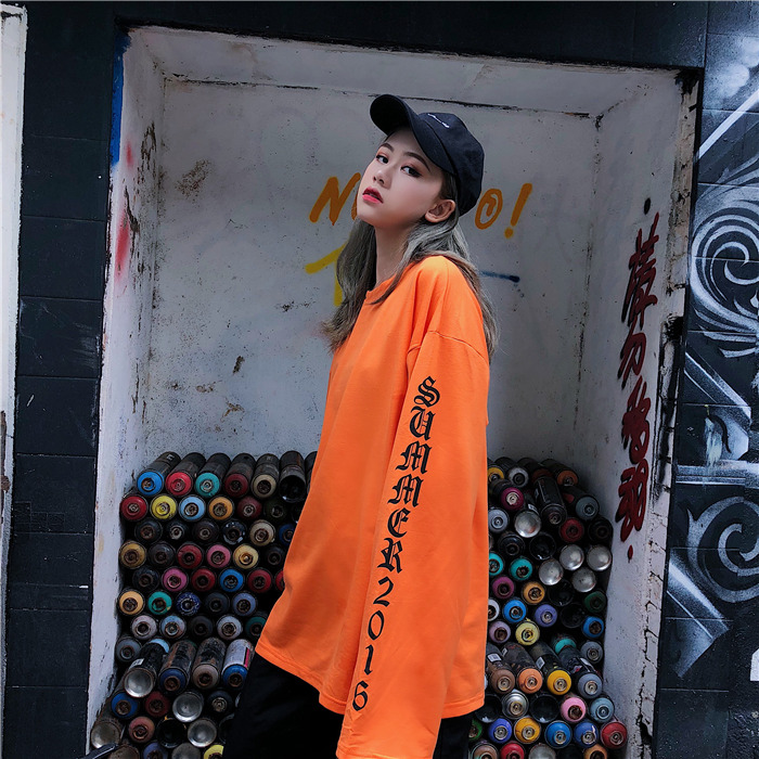 T-shirt Women Autumn O-Neck Letter Printed Loose Long BF Harajuku T-shirt Womens Korean Style Trendy Hip Hop Students Tees Chic 4
