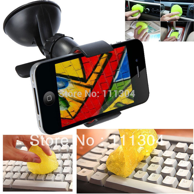 Magical universal clean plastic+ Windshield 360 Degree Rotating Car Sucker Mount Bracket Holder Stand Universal for Phone GPS
