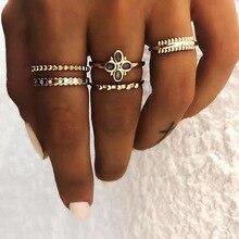 все цены на 5 piece set / Bohemian women's ring fashion four-leaf clover geometric ring set simple temperament accessories jewelry 2019 new онлайн