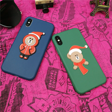 Couple new Year Christmas bear Phone Cover Case For Iphone X Xs Max Xr 10 8 7 6 6s Plus matte luxury soft Silicone Coque Fundas