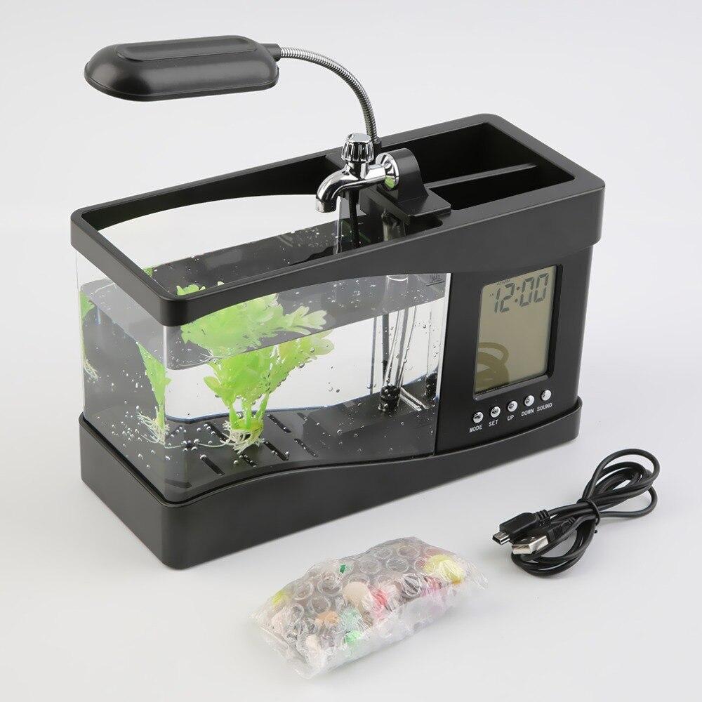 Nouveau populaire USB bureau Mini Aquarium Aquarium LCD minuterie horloge lampe à LED lumière noir livraison directe