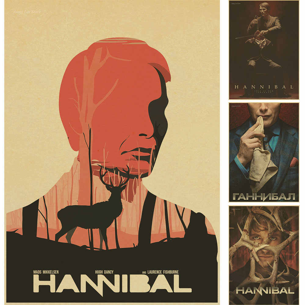 Hannibal poster Kraft pittura decorativa Max Michelsen Hugh dancy horror thriller di Halloween pittura retro poster