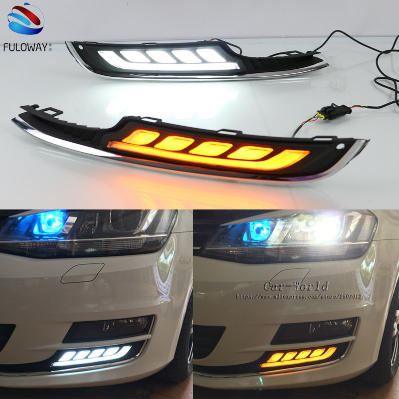 For Volkswagen VW Golf 7 MK7 15-16 LED Daytime Running Turning Signal Light DRL Fog Lamp Cover Exter Driving Lights Car-styling wljh 2x canbus led 20w 1156 ba15s p21w s25 bulb 4014smd car lamp drl daytime running light for volkswagen vw t5 t6 transporter